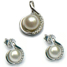 Zilveren sieraden set parels zirkonia