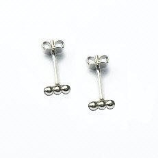 Zilveren oorstekers bolletjesrij