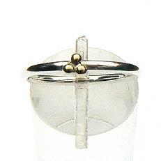 Zilveren Amigas ring met 3 balletjes 14 krt. goud