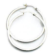 Zilveren creolen 40 mm 2 mm vierkant hefboom
