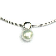 Zilveren collier met hanger parel