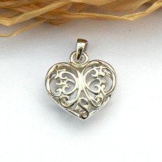 Zilveren hanger hart barok