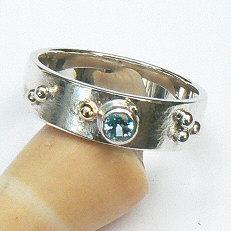 Handgemaakte zilveren ring met topaas en goud 7 mm Sueño by Flamenco