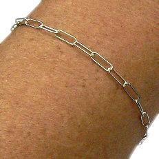 Zilveren paperclip armband
